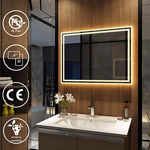 MeyWeb Wandspiegel, badkamerspiegel, LED-badkamerspiegel met verlichting, spiegelkast, wandkast met multifunctioneel, 3000-6400K 80x60cm model 4