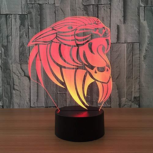 Animal de dibujos animados León 3D Luz de noche para niños Niños Niñas Regalo Lámpara de ilusión 3D para dormitorio junto a la mesa, 16 colores cambiantes LED Lámpara de humor Lámpara de mesa de