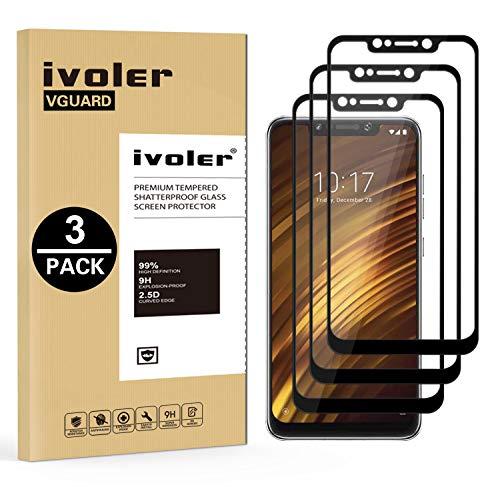 ivoler [3 Unidades] Protector de Pantalla para Xiaomi Pocophone F1, [Cobertura Completa] Cristal Vidrio Templado Premium, [Dureza 9H] [Anti-Arañazos] [Sin Burbujas]