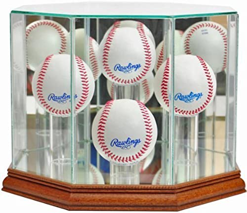 Perfect Cases Glass Baseball Display Case with Mirror 4 seballs by Perfect Cases