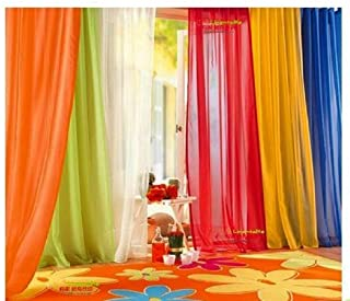 WPM WORLD PRODUCTS MART 6 Piece Rainbow Sheer Window Panel Drapes Curtains Set Lime, Orange, Red, White, Bright Yellow, Na...