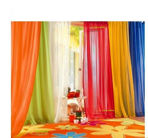 6 Piece Rainbow Sheer Window Panel Drapes Curtains Set Lime, Orange, Red, White, Bright Yellow, Navy- 84 inch Long Panels