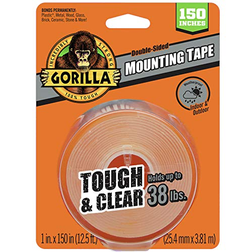 Gorilla Tough & Clear Double Sided XL Mounting Tape, 1' x 150', Clear, (Pack of 1)