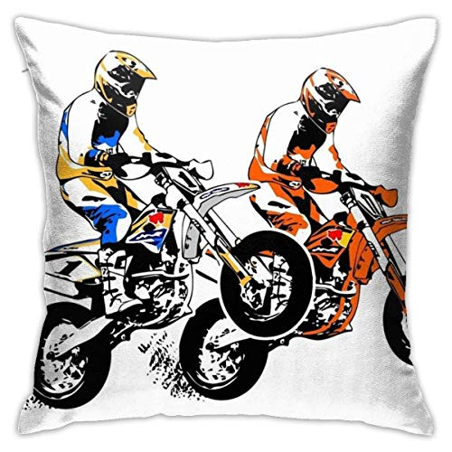 Not Applicable Throw Pillow Covers Supermoto Racing Pillow Case for Bedroom 45 x 45 cm Pillow Cases for Home Decorative with Zip Sofa Square Birthday Gifts