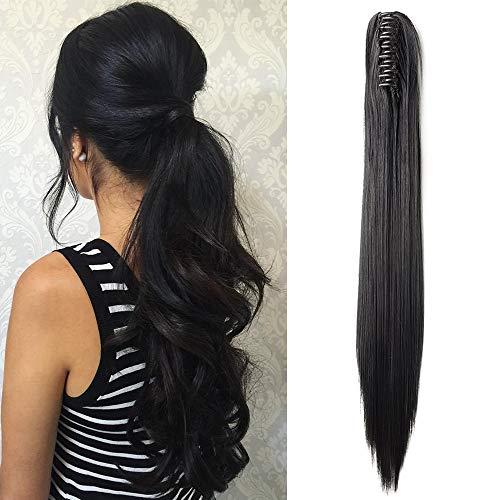 Pferdeschwanz Extensions Clip in Zopf Extensions Ponytail Haarteil Glatt Haarextensions günstig Haarverlängerung für Damen 21