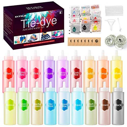 Tie Dye Kit, 18 colores kit para tie dye, tinte ropa y tela, seguro y no tóxico, vibrantes DIY Tie-Dye para niños y adultos