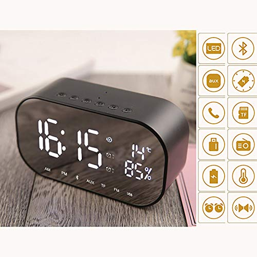 QXWSZ Bluetooth-Lautsprecher Wecker Lautsprecher Audio Drahtlose Bluetooth-Subwoofer Neue Kreative Lautsprecher Am Bett,Black