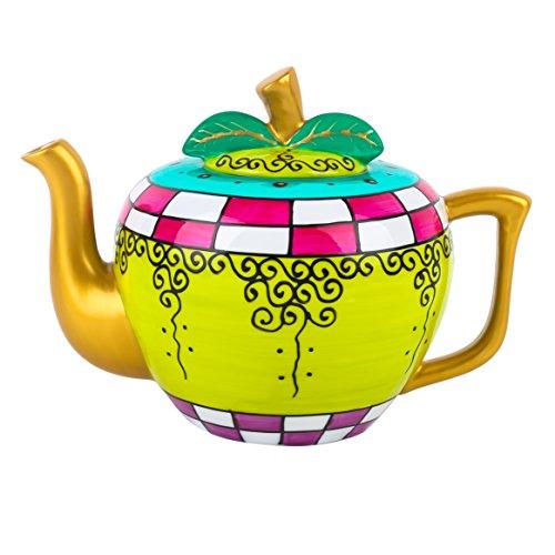 Artvigor, Porzellan Teekanne, 1000 ml Handbemalt Kanne, Apfel Design