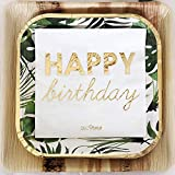DECORAMI Happy Birthday Servietten 16 STK. | Geburtstags Servietten | Papierservietten | Einwegservietten | 33x33 cm | Weiß Gold