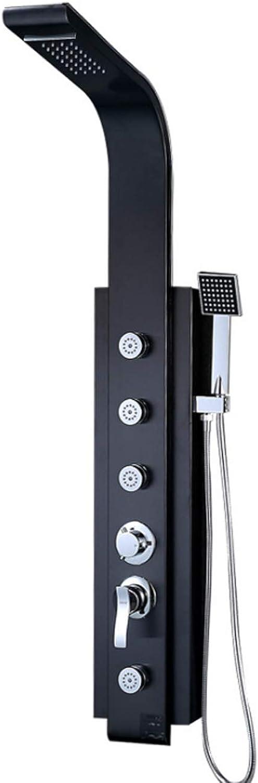 Multifunktionales Badezimmer Duschset, Edelstahl-Duschset + Top-Dusch Kopf + Handdusche + Krper Massage-Jet,schwarz