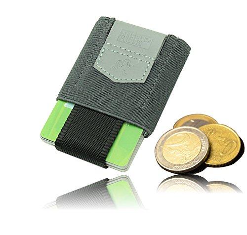 Premium Slim Wallet mit Zugband & Münzfach - Das dehnbare Kartenetui & Mini Portemonnaie aus Textil - Karten, Scheine & Münzen - Kleine Geldbörse, Mini Kreditkarten Etuis, Flaches Portemonnaie (grau)