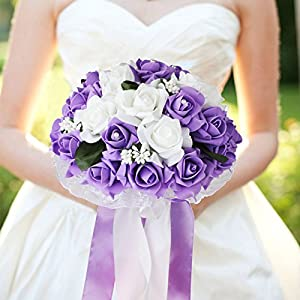 Vlovelife Wedding Bouquet, Bridal Bouquet, White & Lavender Artificial Foam Rose Flower, Handmade Bridesmaid Bouquet Flower for Wedding Favors
