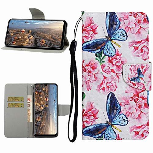 Miagon Hülle für iPhone XS Max,Handyhülle PU Leder Brieftasche Schutz Flip Case Wallet Cover Klapphüllen Tasche Etui mit Kartenfächern Stand,Blau Schmetterling
