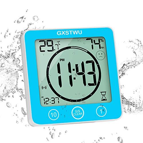 GXSTWU デジタル時計 防水 タイマー 温湿度計 半身浴クロック お風呂時計 温度計 湿度計 熱中症 壁掛け 卓上置き マグネット 吸盤 浴室 バス 洗面所 キッチン 中庭 ルーム シャワー用 (ブルー)