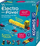 KOSMOS 620707 Electro Power, Einstieg in die Welt der Elektrizität, 5 motorisierte Modelle bauen und mit Spaß Strom-Kreise erforschen, Amazon Exclusive, Experimentierkasten für Kinder ab 8 -12 Jahre