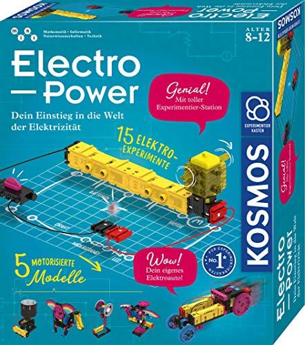 KOSMOS 620707 Electro Power, Einstieg in die Welt der Elektrizität, 5 motorisierte Modelle bauen und mit Spaß Stromkreise erforschen, Experimentierkasten für Kinder ab 8 -12 Jahre