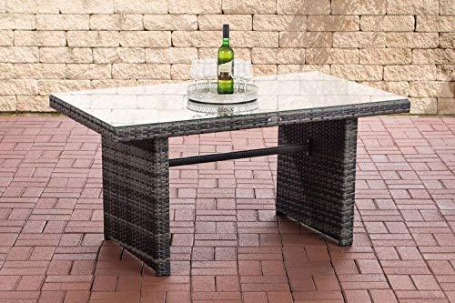 CLP Polyrattan-Gartentisch FISOLO mit Einer Tischplatte aus Glas I Wetterbeständiger Tisch aus Kunststoff, Farbe:grau-meliert