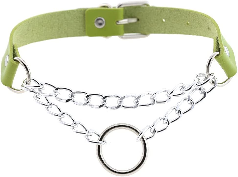 Punk Leather O Ring Pendant Choker Necklace Belt Collar Chain Gothic Jewelry - Green