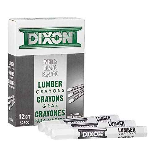 Dixon Industrial Lumber Marking Crayons, 4.5' x 1/2' Hex, White, 12-Pack (52300)