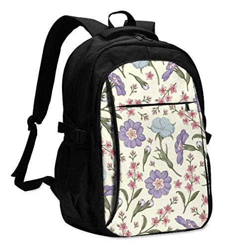 XCNGG Laptop Backpacks Tactical Beautiful Fabric Blooming Realistic Isolated Flowers Office & School Supplies with USB Data Cable and Music Jack Laptop Bags Computer Notebook 18.1X13.3 inch