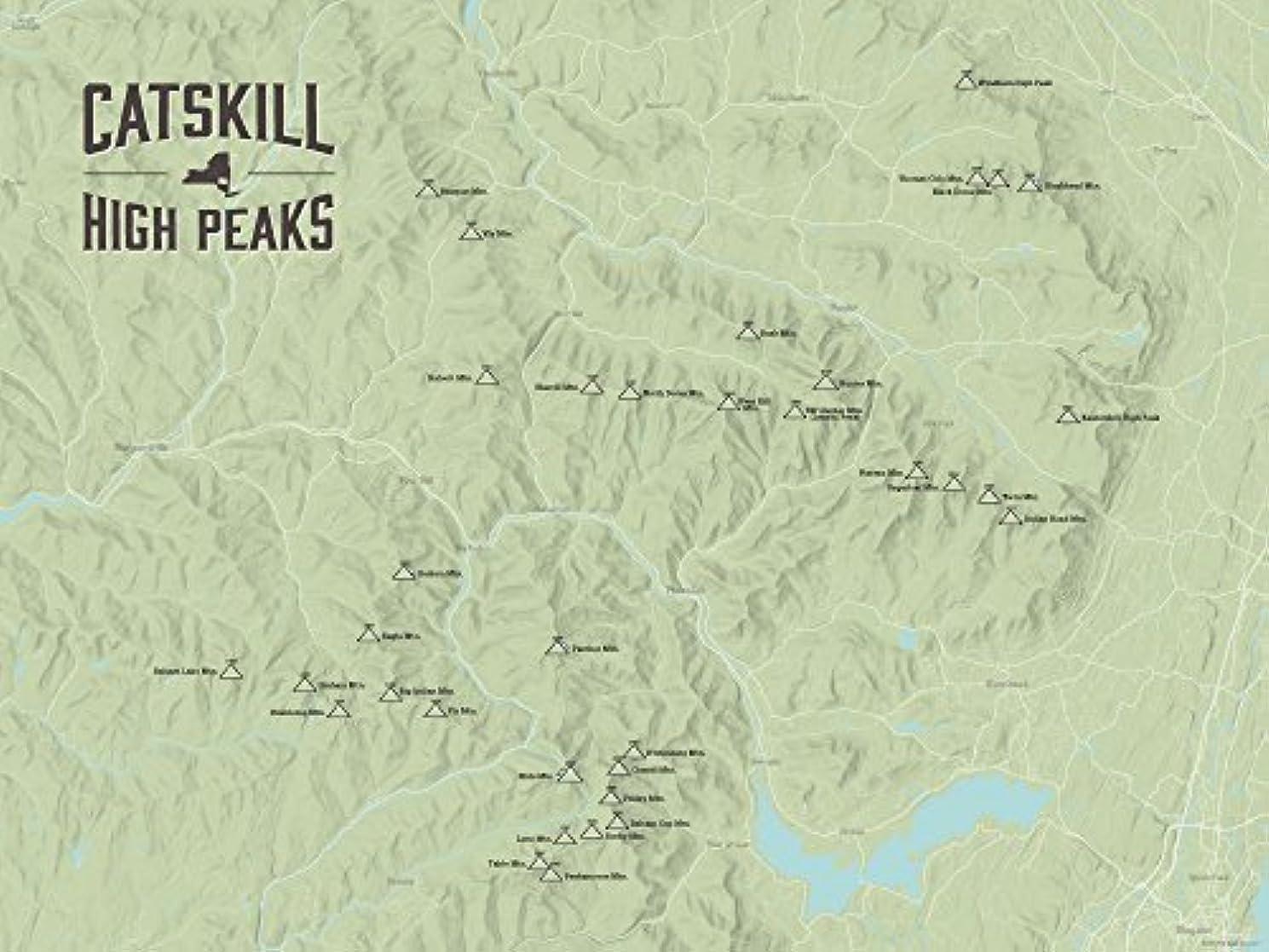 Catskill High Peaks Map 18x24 Poster (Sage)