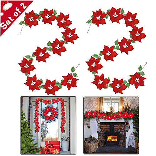 Onene 2 Pack Christmas Poinsettia Garland Artificial Christmas Flowers Decorations with Holly Leaves Chain and Red Berries for Christmas Party Holiday Indoor and Outdoor Wreath Decor, Total 13.2 Ft