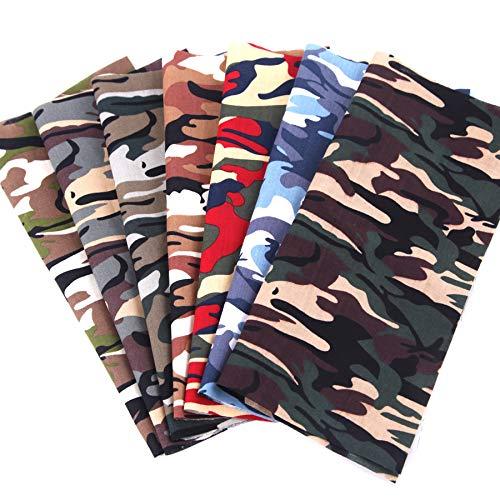 Travistar 7 Piezas 48 x 48cm Tela de Algodón Patchwork Paquete de tela de Flores patrón Floral de Costura de Material Textil Manualidades Retales Algodón para Coser DIY Bricolaje,Camuflaje