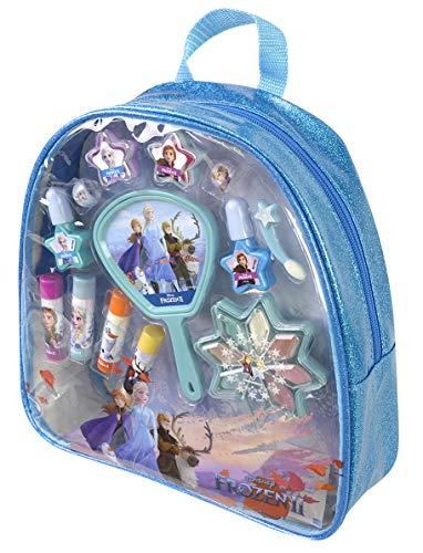 Frozen II Schminktasche mit großer Lidschattenpalette, Lippenstifte und Nagellack, Schmuck, Spiegel und Applicator zum Auftragen