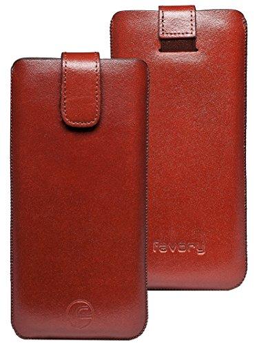 Original Favory Etui Tasche für / Primo 215 by Doro / Leder Etui Handytasche Ledertasche Schutzhülle Hülle Hülle Lasche *mit Rückzugfunktion* Braun