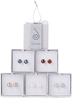 Honora Cultured Pearl Set of 5 9.0mm Boxed Stud Earrings classic colors …