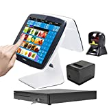 ZHONGJI 2020 Cash Register Smart Touch Screen PC POS System for Retail Stores with POS-Software,Thermal Receipt Printer,Cash Drawer,Omnidirectional Laser Scanner