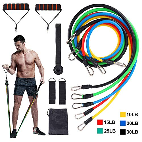 Rommisie Resistance Bands Set, 11er Pack Fitnessband, Fitness Band, Expander Gummiband Fitness Indoor/Outdoor Workout Bands mit, Kraft, Schlank, Yoga