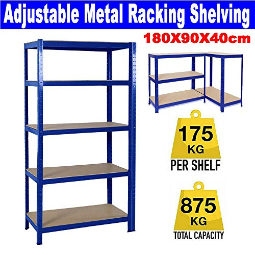 Durable Blue 5 Tire Mental Garage Shelving 180x90x40cm 175kg per Shelf,875kgs Capacity Garage shed Storage Shelving