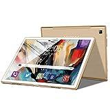 Tablet 10 Zoll 4G LTE Android 9 Tablet PC 4GB RAM 64GB ROM / 256 GB Erweiterbar, GMS-Zertifizierung, Quad Core, 8000 mAh, Dual SIM, 5 MP + 8 MP Doppelkamera, WiFi, Bluetooth, GPS, OTG (Golden)