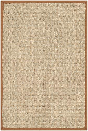 Safavieh Natural Fiber Collection NF114B Basketweave Natural and Brown Summer Seagrass Area Rug (2'6' x 4')
