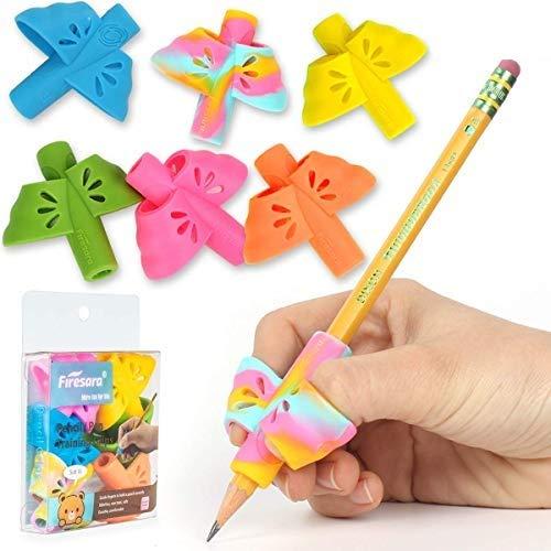 Firesara - Empuñaduras de lápiz para niños, 6 unidades, para corrección de postura profesional, para escritura a mano, silicona para diestros para niños, niños y adultos
