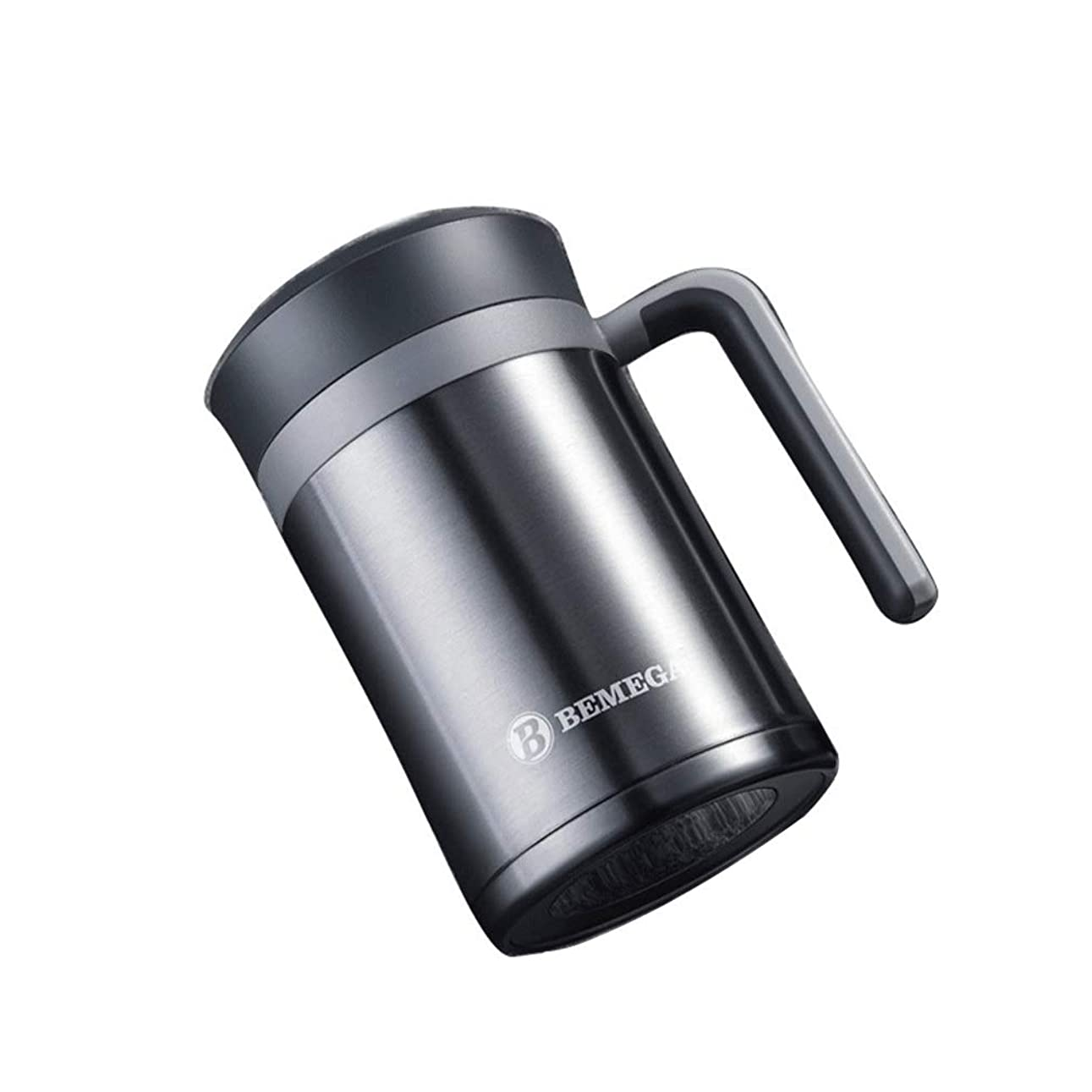 迷路外側ウィスキー水筒 ギフトカップ-大容量高品質316ステンレスカップハンドルステンレススチールカップビジネスオフィスティーカップティーポータブル旅行屋外家庭用断熱カップステンレスカップ (Color : グレー)