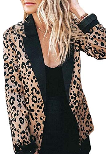 Booaul Women's Leopard Print Lapel Long Sleeve Work Blazer Jacket Suit Coat