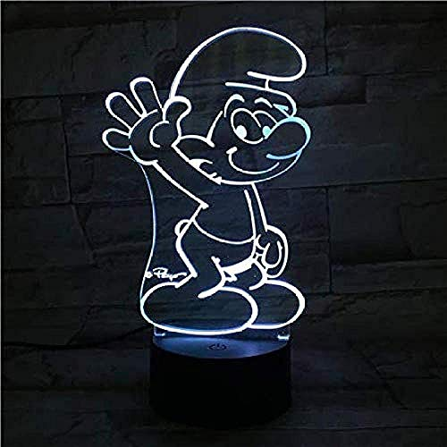 Laserschneidplatte 3D visuell geführtes Nachtlicht 7 Farben Schlumpf Familiengeschäft Romantische Atmosphäre Kinder Freunde Weihnachtsgeschenke