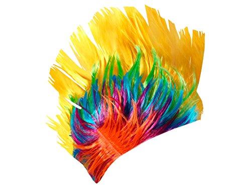 Alsino Irokesen Perücke Punk Iro bunt Karneval Fasching Rocker Irokese Haarschnitt (PI-011 gelb bunt)