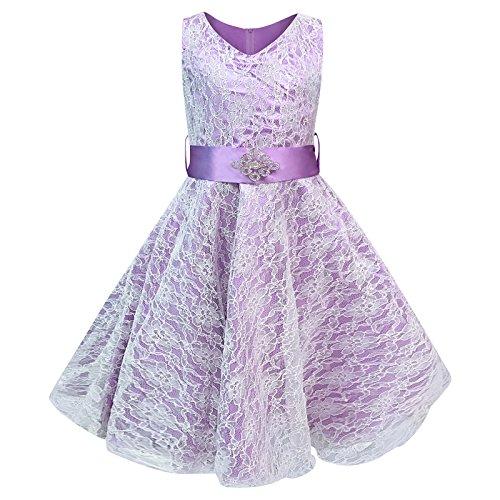 Live It Style It Mädchen V-Ausschnitt Spitze Hochzeit Party Brautjungfer Prinzessin Tanz Abiballkleid - Lila, 3-4 Years