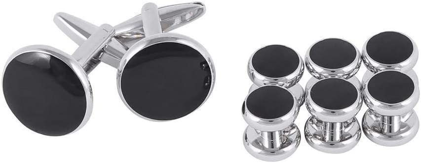 Sewing Button 8Pc Mens Tuxedo Shirt Decorative Buttons Cufflinks Set Stainless Steel Metal Button Stud Business Wedding Party Suit Accessories - (Ships from: China; Color: Black Siliver)
