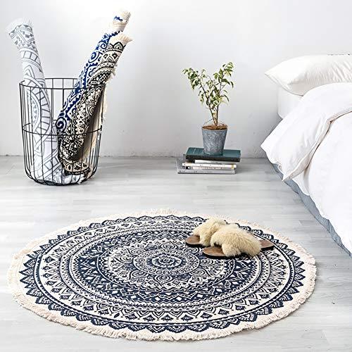 Lsimeru Tapis rond style bohème 120 cm bleu noir motif mandala fleuri Tapis à franges en coton Tapis rond chic imprimé lavable pour salon chambre à coucher