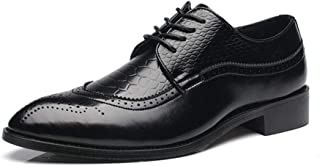 ZHANGLEI Business Oxford for Men Formal Dress Shoes Lace Up Patent PU Leather Classic Chic Anti Slip Wingtip Brogue Carving Office Pointed Toe (Color : Black, Size : 7.5 UK)