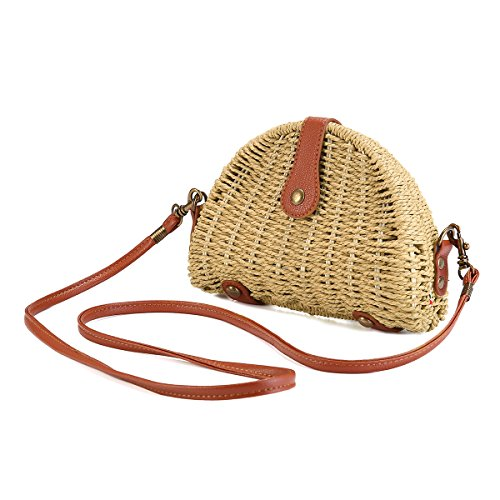 JOSEKO bolso de hombro tejido de paja de verano, bolso de playa, bolso de mensajero tejido de paja para mujer, bolso de paja tejido a mano, viajes al aire libre Beige