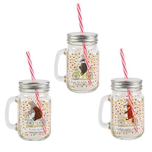 Mug - Set de 3 Choppes Happy Animals avec Pailles
