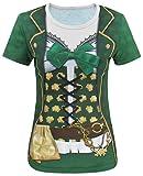 COSAVOROCK Disfraz de Leprechaun Mujer Traje de San Patricio Camiseta Verde (XL, Verde)