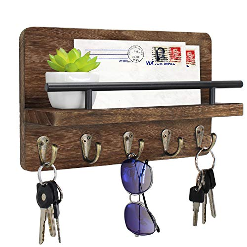 Key Holder and Mail Shelf Wall Mounted Decorative Wooden Mail Organizer with Shelf Wood Hanging Mail Sorter with 5 Key Hooks 100 Solid Wood Letter Bill and Newspaper Storage Shelf Brown