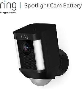 Ring Spotlight Cam Battery, HD-beveiligingscamera met led-spots, alarm, tweeweg-audio, werkt op accu   Inclusief proefabonnement van 30 dagen op Ring Protect Plus   Zwart