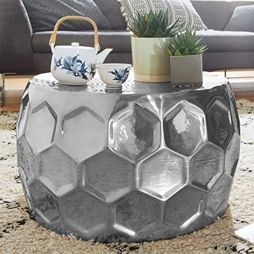 Wohnling Mesa Honeycomb 60 x 36 x 60 cm Aluminio anstell –